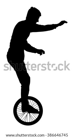 Circus Artist performer Silhouette on white background - stock vector