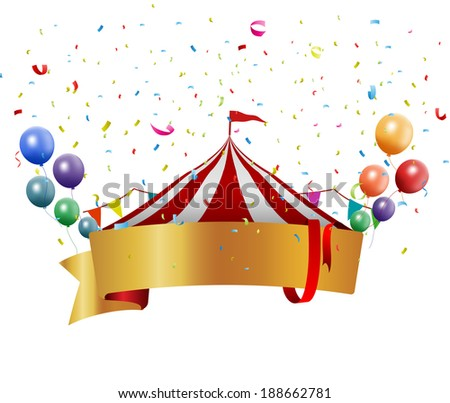 Circus background with balloon and confetti - stock vector