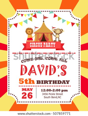 Circus Birthday Invitation Card Stock Vector   Shutterstock