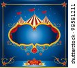 Circus blue leaflet. A circus leaflet for the announcement of your show - stock photo