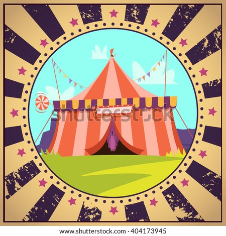 Circus cartoon poster with entrance signboard lawn and decorations vector illustration