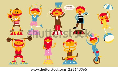 circus characters cartoon vector illustrations - stock vector
