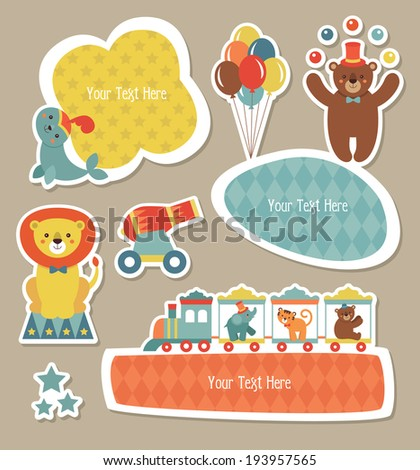 circus childish frames set design. vector illustration - stock vector