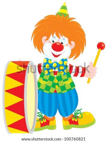 Circus clown drummer - stock vector