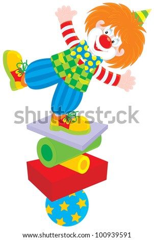 circus clown equilibrist balancing on a few objects - stock vector