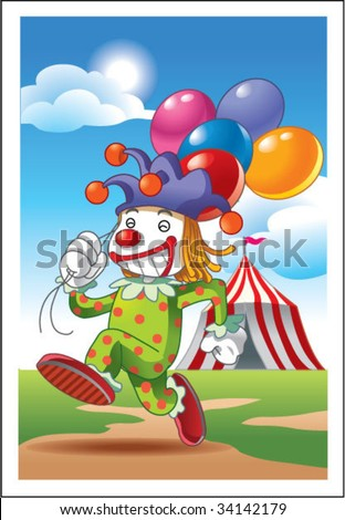 circus clown holding balloons - stock vector