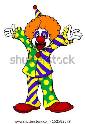 Circus clown in cartoon style for design. Jpeg version also available in gallery - stock vector