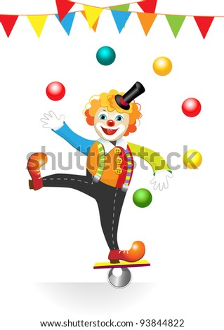 circus clown with flags and balls