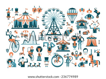 Circus. Colored icons on white background - stock vector
