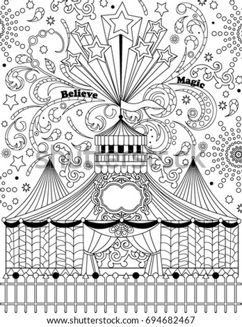 Circus Coloring Book Page Stock Vector (Royalty Free) 694682467 ...