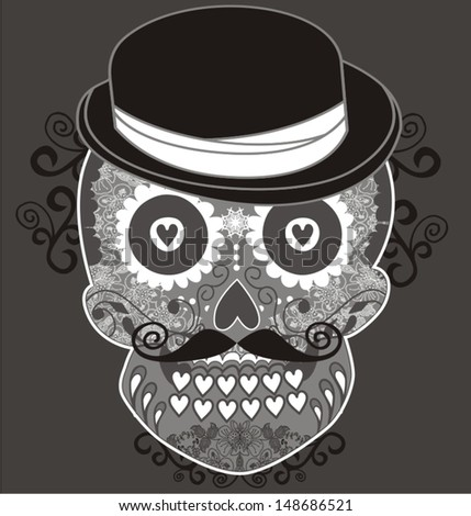Circus design template with magician skull. Vector illustration.  - stock vector