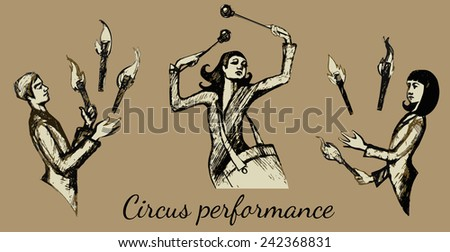 circus. drummer and jugglers in retro style. isolated on beige background - stock vector