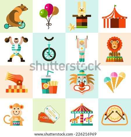 Circus entertainment flat icons set with tent clown balloons isolated vector illustration - stock vector