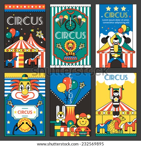 Circus entertainment fun park holiday retro posters set isolated vector illustration - stock vector