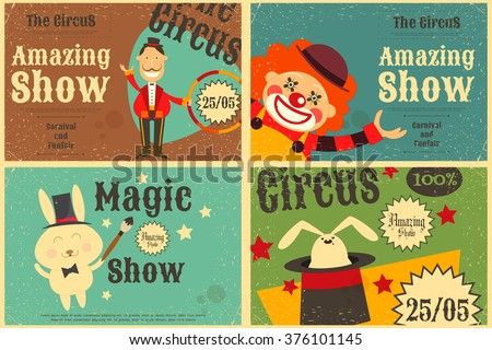 Circus Entertainment Set Poster in Vintage Style. Cartoon Style. Circus Animals and Characters. Vector Illustration. - stock vector