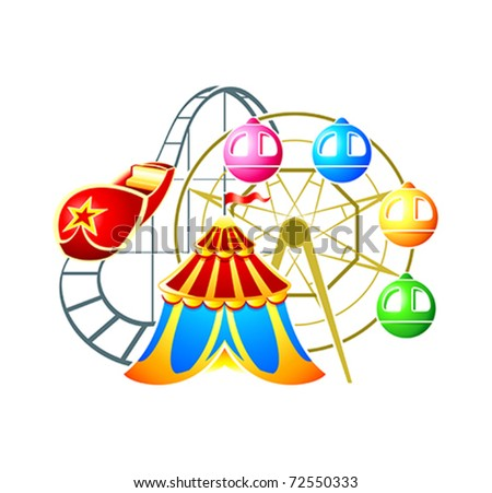 Circus, ferris wheel and rollercoaster at amusement park - stock vector