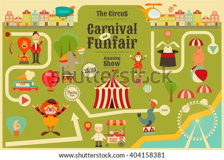Circus Funfair and Carnival Poster on City Map in Vintage Style. Cartoon Style. Circus Animals and Characters. Vector Illustration. - stock vector
