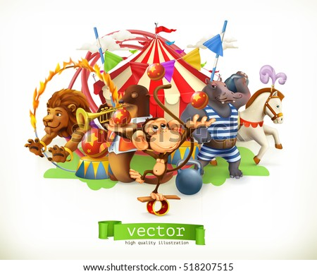Circus, funny animals. Monkey, lion, horse, hippo. 3d vector