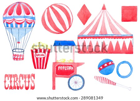 Circus. Hand-drawn set with circus elements. Vector illustration. Traced painting - stock vector