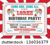Circus Happy Birthday Card Invitation Design with Elephant - stock vector