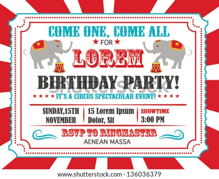 Circus Happy Birthday Card Invitation Design with Elephant - stock vector
