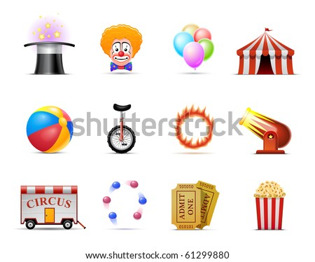 Circus Icon set - stock vector