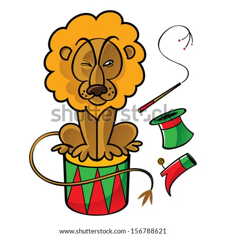 Circus lion trainer drum top hat whip boot eat - stock vector