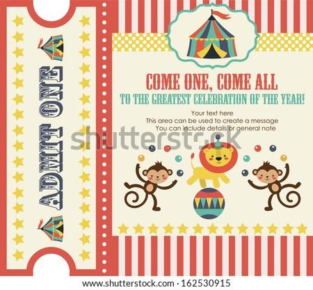 circus party card design. vector illustration - stock vector