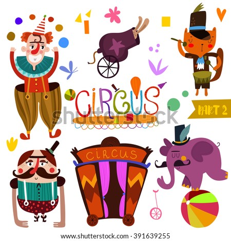 Circus performance collection  in cartoon style-part_2. Funny card with athlete animals: clown, rabbit, cat and elephant-magician vector illustration  - stock vector