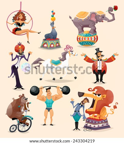 Circus performance decorative icons set with athlete animals magician vector illustration - stock vector