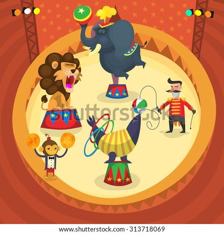 Circus performers. People and animals making tricks at the stage - stock vector