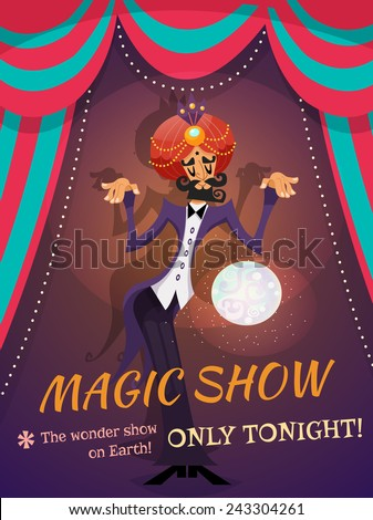 Circus poster with magician sphere and magic show text vector illustration - stock vector
