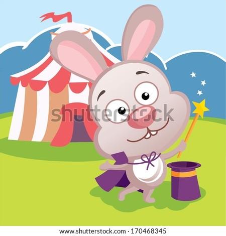 Circus rabbit cartoon  - stock vector