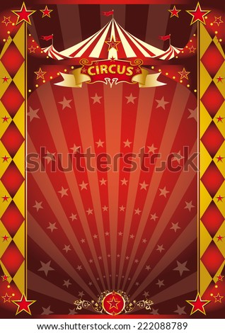 circus red and gold rhombus poster. A retro circus poster with sunbeams for your entertainment. - stock vector