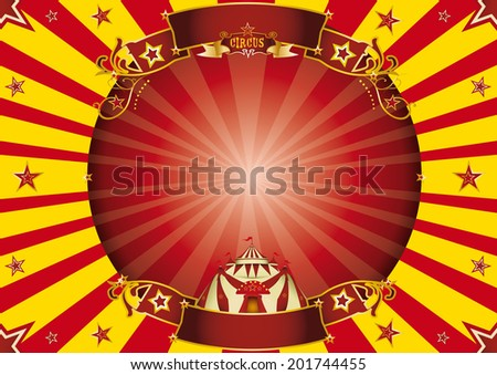 Circus red and yellow horizontal background. a circus horizontal poster with a circle frame for your advertising. Ideal for a screen