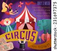 Circus retro poster with trained animals acrobats show funny clowns magic tricks vector illustration - stock