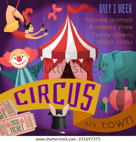 Circus retro poster with trained animals acrobats show funny clowns magic tricks vector illustration - stock vector
