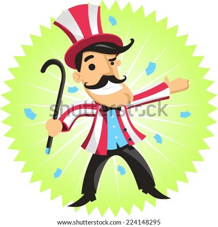 circus ringmaster amusement park cartoon vector illustration - stock vector
