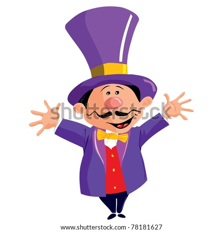 Circus Ringmaster with a top hat isolated on white - stock vector