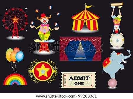 circus set. A circus set with various elements.(a clown,a tightrope Walker,a circus tent,a curtain,a ferris Wheel,an elephant....) - stock vector