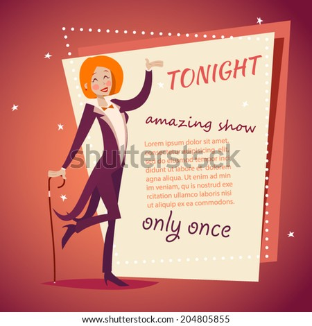 Circus Show Host Lady Girl in Suit with Cane Icon on Stylish Background Retro Cartoon Design Vector Illustration - stock vector