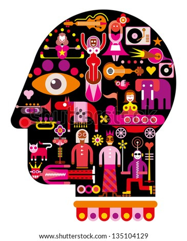 Circus Show in Head - abstract art vector illustration - stock vector