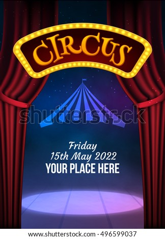Circus Show Poster Template Sign Light Stock Vector 496599037 ...