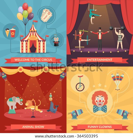 Circus show 2x2 design concept set of funny clowns entertainment and performance with trained animals strongman and acrobats flat vector illustration   - stock vector