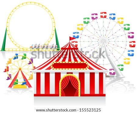 circus tent and attractions vector illustration isolated on background