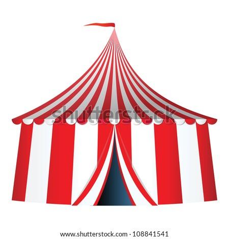 Circus tent with flag vector illustration - stock vector