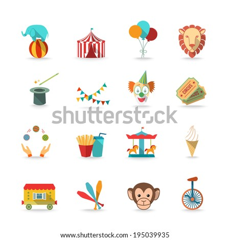 Circus tent with monkey and lion and clown magical wand triks icons ...