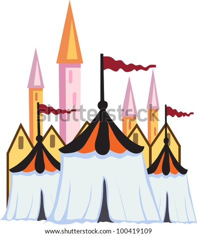 circus tents are standing on the background of the towers of the castle - stock vector