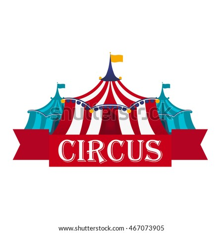 Circus Tents With Banner. Flat illustration