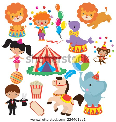 Circus Vector Illustration Stock Vector 224396875 - Shutterstock